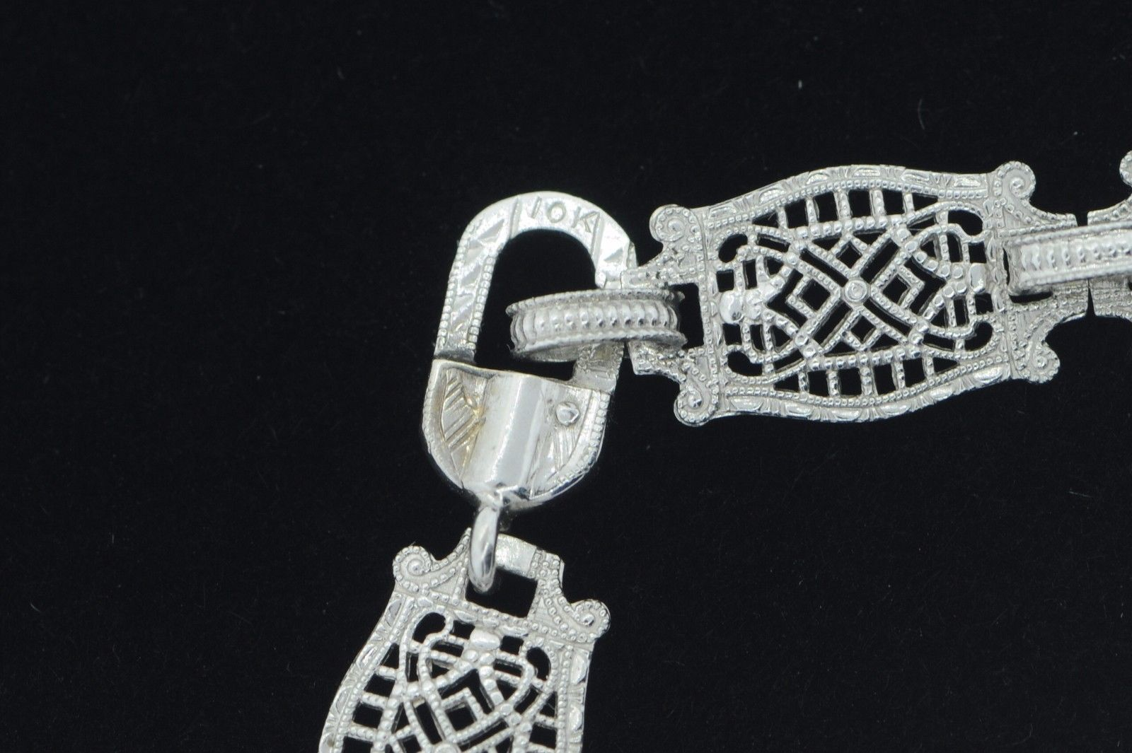 "Art Deco (ca. 1930) 10K White Gold Diamond & Etched Glass Bracelet (6 3/4"") image 8"