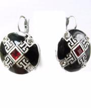 Sterling Enamel Earrings Vintage Parisian Jeweled Red Rhinestones Silver Wedding - $55.00