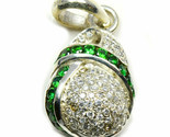 Green Cubic Zircon Pendants Sterling Silver Round Gemstone Handcrafted Jewelry