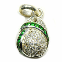 Green Cubic Zircon Pendants Sterling Silver Round Gemstone Handcrafted J... - £21.37 GBP