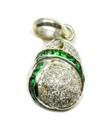 Green Cubic Zircon Pendants Sterling Silver Round Gemstone Handcrafted J... - £21.54 GBP