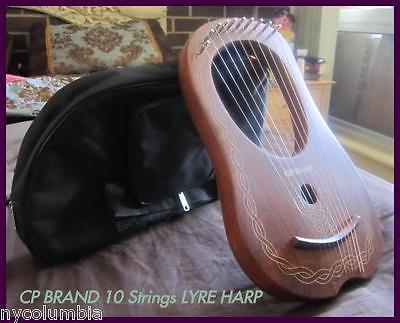 CP BRAND NEW 10 STRINGS LYRE HARP FREE CARRY BAG & SHIP