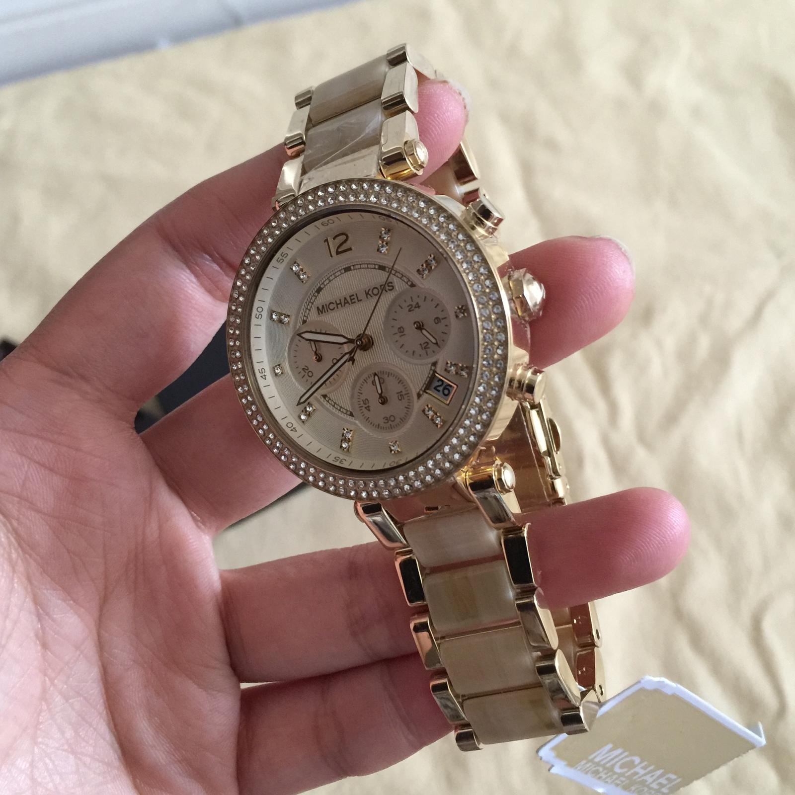 f2e5e0ef09ef NWT MICHAEL KORS Chronograph Parker Horn Acetate and Gold-Tone Watch MK5632