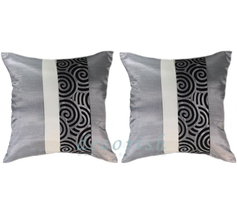 2 Silk Throw Cushion Cover SILVER with Spiral Middle stripe - $14.99
