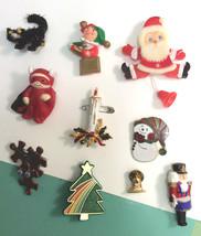 lot of 10 vintage holiday christmas pins halloween two plastic and metal 999 - Christmas Pins