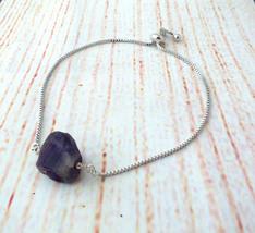 Raw Purple Amethyst Slidding Bracelet, Dainty Gemstone Bracelet, Bolo Ad... - $14.00
