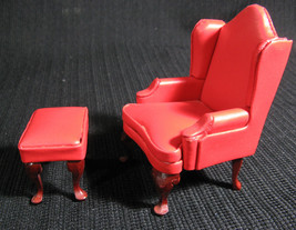 Town Square Miniatures - Red Wing CHAIR with Ottoman for Dollhouse Scale - $19.99