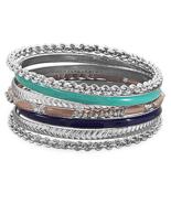 Set of 7 Silver Tone Fashion Bangle Bracelets w/ Blue and Tan Enamel, Wa... - $18.87