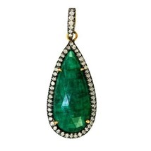 14 K Gold Emerald Diamond Pave Pendant 925 Sterling Silver Antique Style... - $467.50