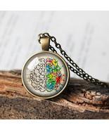 Right Brain Left Brain Necklace, Brain Pendant, Neurology Medical Gift, ... - $11.99