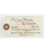 Bliss Gilsum NH Sentinel Printing Keene vintage mail hand tag 1900 newsp... - $7.50