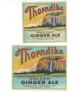 2 Thorndike Ginger Ale bottle labels 1900 MA Spring Co vintage soda brev... - $12.00