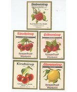 five food labels fruit syrup Kirschsirup Germany vintage cherry strawber... - $18.00