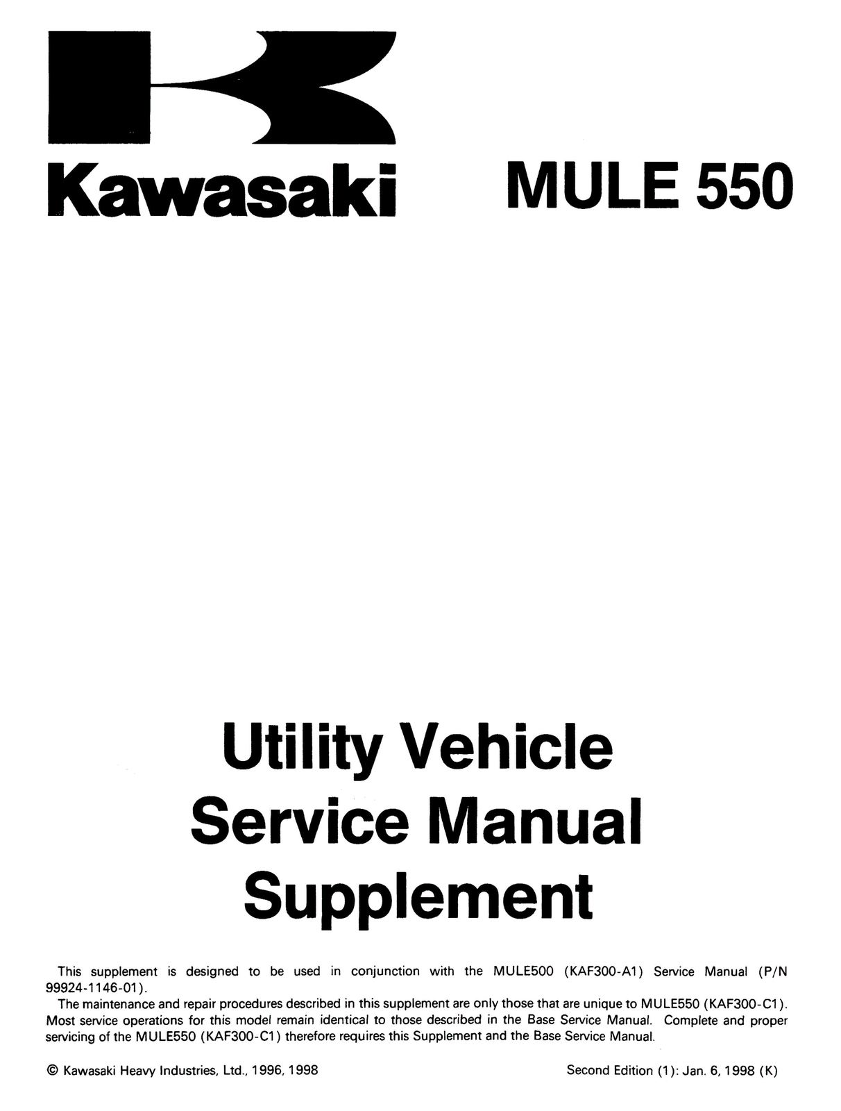 ... Kawasaki Mule 500 550 Shop Service Repair Manual KAF300 91 92 93 94 95  96 97