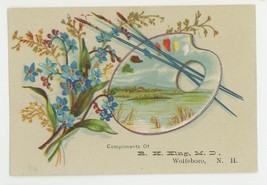 King MD Wolfeboro NH Victorian trade card artists pallet drugs fishing t... - $12.00