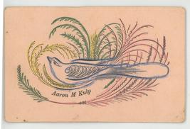 Kulp Victorian antique calligraphy calling card 1890 bird ferns hand pai... - $9.99