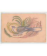 Kulp Victorian antique calligraphy calling card 1890 bird ferns hand pai... - $9.99