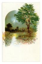 Victorian finding card landscape pretty scene moon castle antique crafts... - $5.50