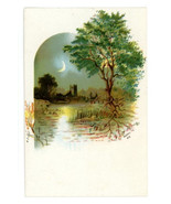 Victorian finding card landscape pretty scene moon castleantique crafts ... - $4.50