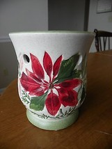 "YANKEE CANDLE ~ POINSETTIA  CANDLE HOLDER ~ 5"" TALL - $9.97"