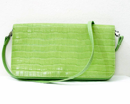 Lime Green Clutch Reptile Look Multi section Handbag - $24.00