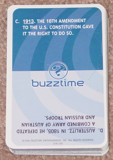 BUZZTIME HISTORY TRIVIA CARD GAME SERIES 1 2004 CADACO LIGHTLY USED
