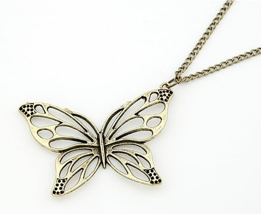 Primary image for Butterfly Metal Cut Out Long Pendant Necklace in Bronze