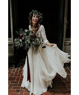 Beautiful Long Sleeve A-Line Two Pieces Country Wedding Dresses - $260.00