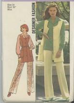 Simplicity 6604 - Blouse, Flared Pants Vest Mini Dress - Vintage Size 14... - $5.50
