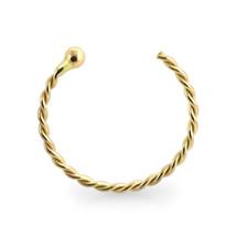 9KT Solid Gold 22 Gauge ( 0.6MM ) - 5/16 Length Half Nose Twister Hoop R... - $9.80
