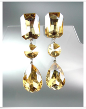 GLITZY Light Gold Brown Czech Crystals LONG Bridal Pageant Prom CLIP Earrings - £22.79 GBP