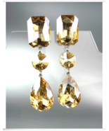 GLITZY Light Gold Brown Czech Crystals LONG Bridal Pageant Prom CLIP Earrings - $29.99