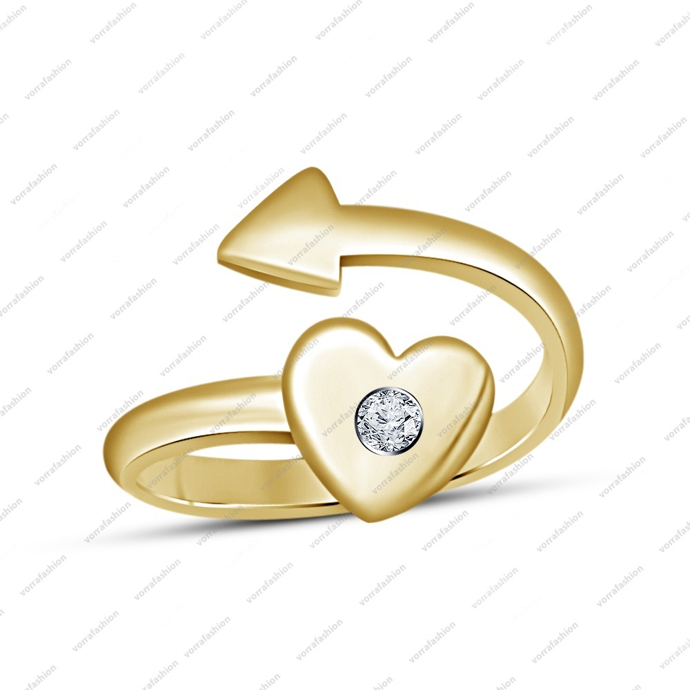 Primary image for 14k Yellow Gold Plated Round Brilliant Cut White CZ Adjustable Heart Arrow Ring