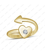 14k Yellow Gold Plated Round Brilliant Cut White CZ Adjustable Heart Arr... - £11.90 GBP