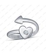Silver 925 14k White GP Round White Cubic Zirconia Engagement Heart Arro... - £12.75 GBP