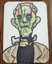 ACEO Original Frankenstein Classic Monster in Magnetic Top Loader Tradin... - $10.95