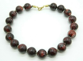 Brown Marbled Large Acrylic Bead Beaded Gold Tone Vintage Choker Necklace - $24.74