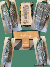 NEW! Takara Ladies Top Sz M Green Chevron 3/4 Sleeves Semi-Sheer Retail ... - $12.86