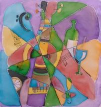 "MUSICAL ABSTRACTION: Original fabric paintinting by Akimova,guitar, 13""x15"" - $20.00"