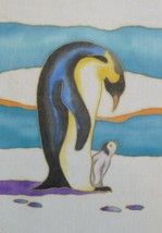 """PENGUINS: Original fabric paintinting by Akimova,birds, snow, 12""""x16"""" - $20.00"""