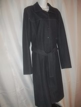 Ladies Size L Denim Look Long Spring Trench Coat Lined Snaps, Belt - $34.64