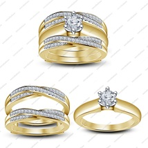18k Yellow Gold Plated 925 Silver Women's Diamond Engagement Wedding Ring Set - $141.85