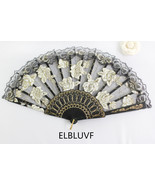 Spanish Black Flower Floral Fabric Lace Folding Hand Dancing Fan Summer ... - $6.85