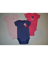 JUST ONE CARTER'S Girls 3-PACK BODYSUIT SIize-3M  I Love Girls Day With ... - $8.82