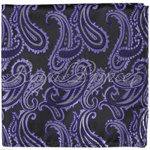 New Men Paisley Handkerchief Only Pocket Square Hanky PURPLE BLACK Weddi... - $4.84