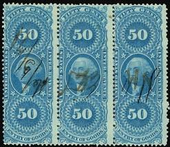 R55d, 50¢ Silk Paper Revenue Strip of Three Extremely RARE! - Stuart Katz - $350.00