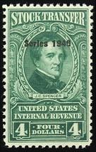 RD222, VF Mint Never Hinged $4 Stock Transfer Stamp - Stuart Katz - $40.00