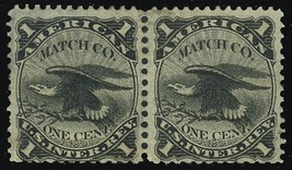 RO12a, Pair American Match Co. Stamp Cat $120.00 - Stuart Katz - $100.00