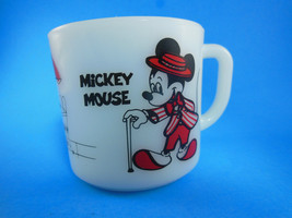 Disney Mickey Minnie Mouse Anchor Hocking Oven Proof Milk Glass Cup mug ... - $11.08