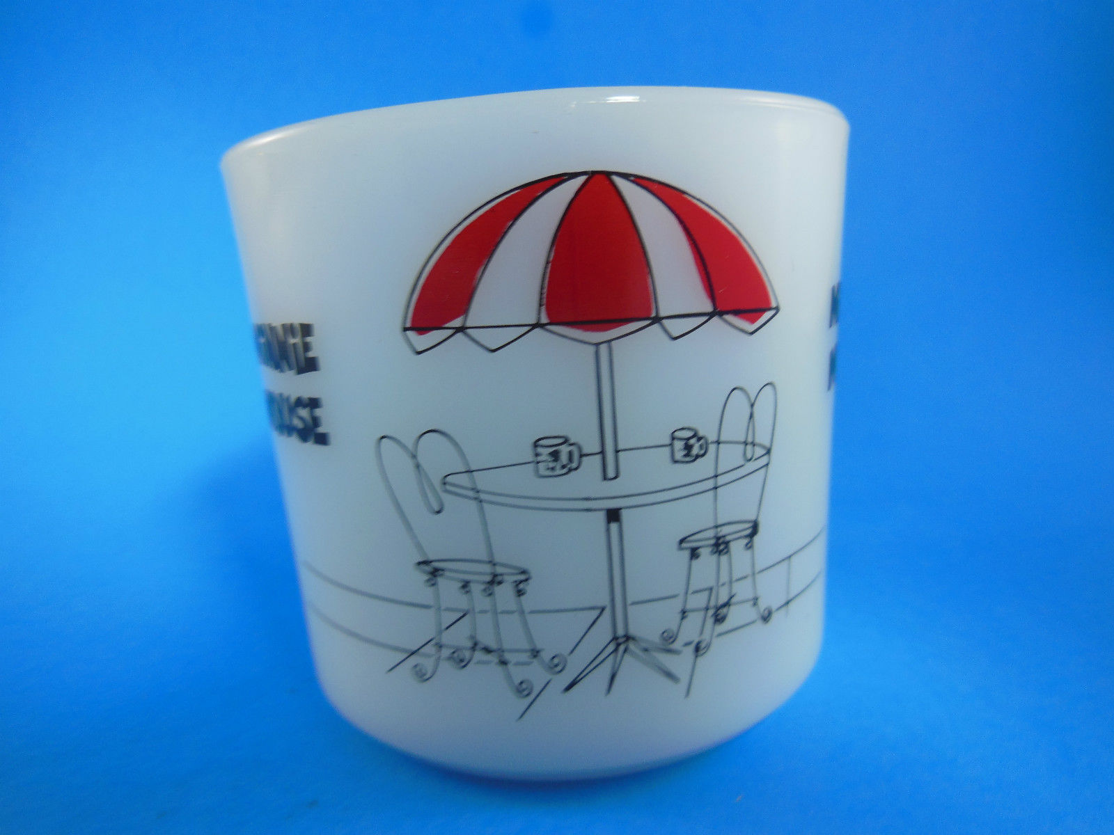 Disney Mickey Minnie Mouse Anchor Hocking Oven Proof Milk Glass Cup mug Vintage